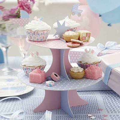 Tiny Feet New Baby Shower Christening Party Reveresible Card Cake Stand