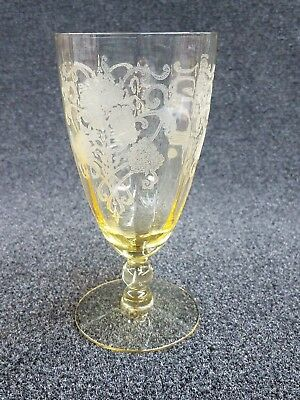 """Antique Stemmed Glass / Bowl - Etched Clear Yellow Glass - 6"""" tall"""