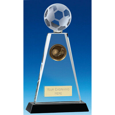 "Crystal FOOTBALL Soccer Glass Trophy 6.75"" 8"" or 9"" FREE ENGRAVING Personalised"