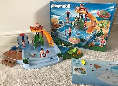 Playmobil Swimming Pool With Slide Figures U0026 Accessories 4858