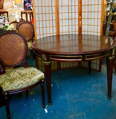 Antique French Louis Xv Style Dining Table On Tapered Legs With Ormolu Mounts