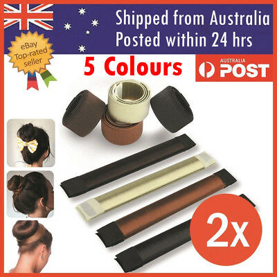2x Women's Magic Hair Bun Snap Styling Donut Former French Twist Band Maker Tool