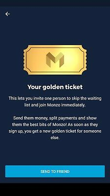 Monzo MODERN banking Golden TIcket invite - skip the que! Amazing iOS+Android