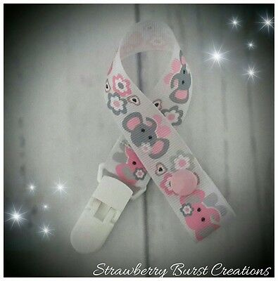 Handmade Baby Gift Dummy Clip Pink & Grey Elephants *MAM adapters available*