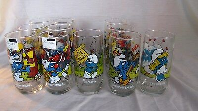 Vintage 1982 & 1983 Lot of 11 Smurf Collector Glasses  Peyo Wallace Berrie