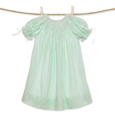 Mint and White Classic Smocked Bishop Dress with Ribbons NEW * Easter *