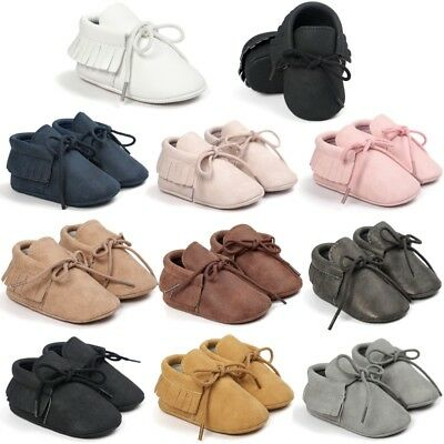 UK Baby Soft Sole PU Leather Shoes Toddler Infant Boy Girl Tassel Moccasin 0-18M