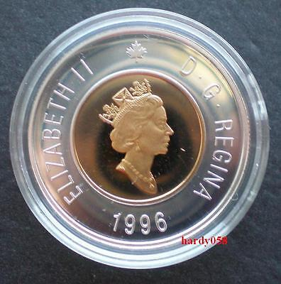 ★ 1996 CANADIAN Rare Piedfort Proof Silver Toonie w/24k Gold Plated Core