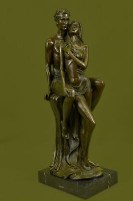 """Vintage French Bronze By Mavchi 17.5 """"tall,young romantic couple courting Sale"""
