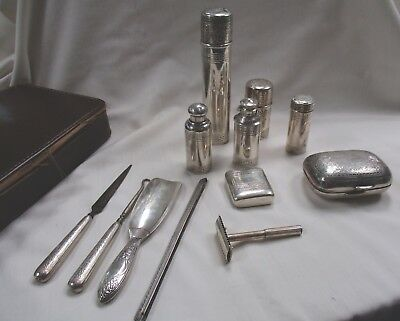 Tiffany & Co. Sterling Silver Shaving Kit/Vanity Set- No Monogram- 12 Pieces- NR