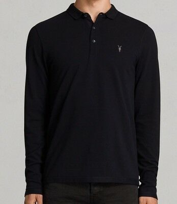 592be685 ALLSAINTS INK NAVY Reform Long Sleeve Polo Shirt Xs, S, M, L, Xl ...