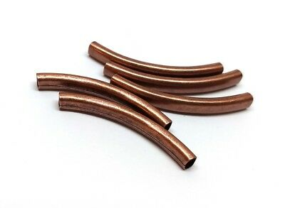 6 pcs Antique Copper Noodle Oval Tube Long Thin Smooth Curved Beads - 42mm x 6mm