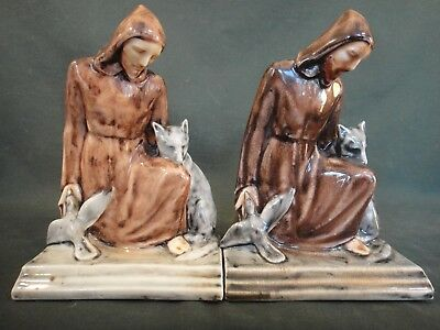 Rookwood St. Francis Art Pottery Bookends - 6883