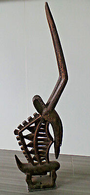 """29"""" Tall Chi Wara Mali Africa Wooden Carving W/ Metal Stand Antelope Bemana Male"""