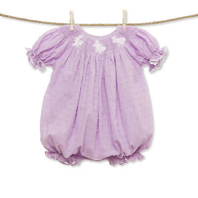 Lavender Dixie Dot Easter Bunny Smocked Romper NEW * bubble girl boutique*