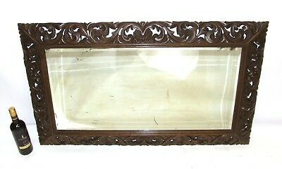LARGE Antique Carved Oak Macclesfield School of Carving Style Mirror Over Mantel