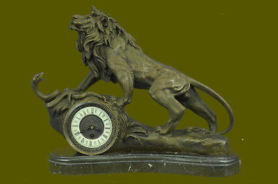 Hand Made Metal Roaring LION Statue /Clock Topper 100% Pure Bronze over Marble