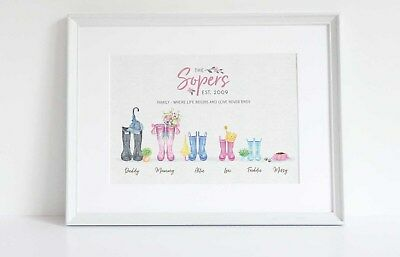 Personalised Wellington Welly Boot Wellies Family Surname Print KeepsakeUNFRAMED