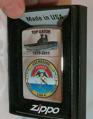 USS NASSAU 2011 Zippo LIGHTER LHA 4 US Navy Ship MINT Decomm