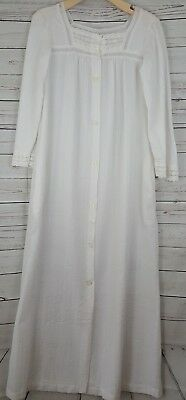 Vintage Miss Elaine White Lace Button down Night Gown Cotton size M