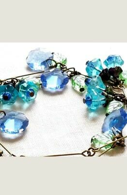 Reduced!! Vintage Czech Glass Bluebell,blue Flower ,green Leaf Wire Necklace.