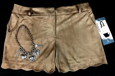 Maurices beige SMART faux suede scalloped plus size shorts 14 16 18 20 22 24 26