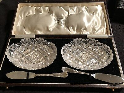 Vintage Cut Glass Butter or Jam Dishes Silver Plate Knives In Original Box