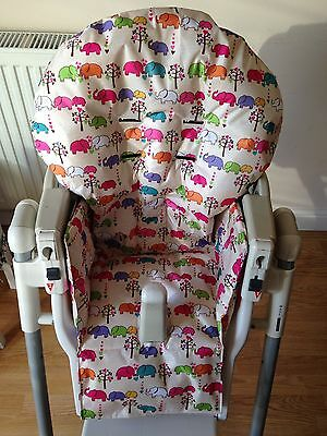 Hand Made Prima Pappa Highchair Cover- Elephants On Beige Ripstop