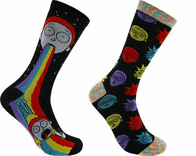 Rick and Morty Rainbow 2-Pack Casual Crew Socks, 6-12