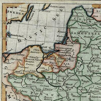 Poland Great Dutchy Lithuania Prussia 1788 old antique map beautiful hand color