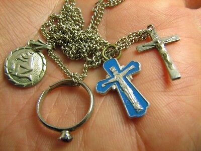 CROSSES RING  PENDANT with CHAIN #210