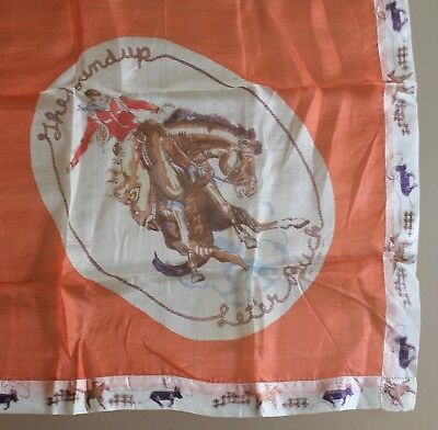 "Vintage 1930's ""The Roundup Let'er Buck"" 23"" Square Souvenir Silk Scarf"