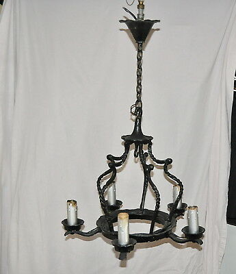 SPANISH REVIVAL 1920s SOLID WROUGHT IRON CHANDELIER GREAT LOOKING ORIGINAL ITEM!