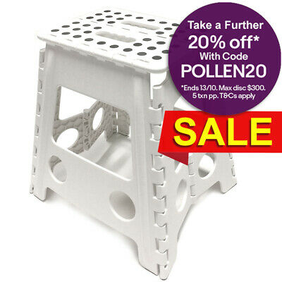 39cm White Plastic Folding Step Stool Portable Chair Flat Indoor/Outdoor Home