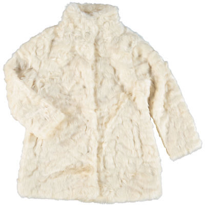 ARABELLA & ADDISON Cream Faux Fur Coat Girls Kids Size 3-4 Years / 98-104cm