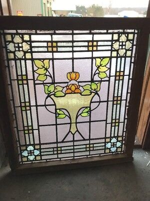 Sg 1863 Gorgeous Antique Stainglass Landing Window Rudy Bro Flowers