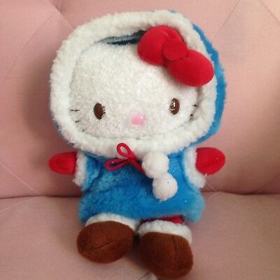 RARE Hello Kitty Plush Blue Hood
