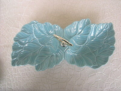 1950's Turquoise Ceramic Divided Leaf Dish Centre Handle USA  No 78