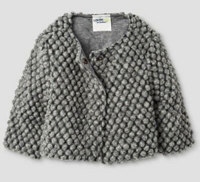 Genuine Kids Girl's Wool Blend Sweater Jacket Gray Size 18 Months NEW