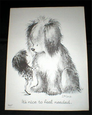 """""""It's nice to be Needed"""" - Vtg Poster (19"""" x 25"""") - Moppets - 1970's"""