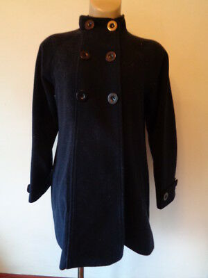 Jojo Maman Bebe Maternity Stylish Navy Wool Blend Swing Mac Jacket Coat Size 10