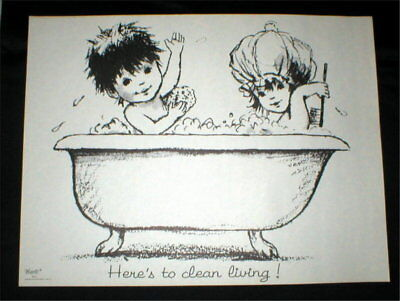 """""""Here's to clean Living!"""" - Vtg Poster - Moppets 1970's (19"""" x 25"""") - Unframed"""