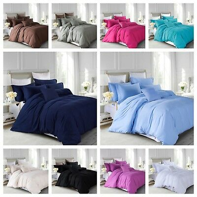 Plain Dyed Duvet/Quilt Cover Bedding Sets with Matching Pillow Cases All UK Size
