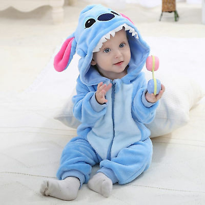 Unisex-baby Flannel Romper Blue Stitch Animal Onesi Pajamas Outfits Suit 70cm