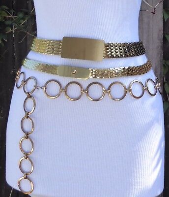 Three Different Vtg Gold Tone Metal Fish Scale Stretch & Chain Belts