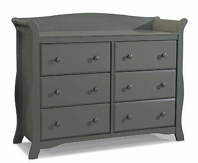 Stork Craft Avalon 6 Drawer Universal Dresser, Gray