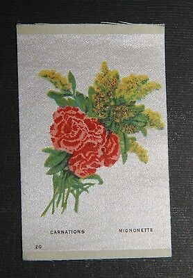 Vintage tobacco cigarette silk - use in crazy quilt - FLOWERS - CARNATIONS