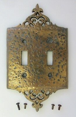 Vtg EMIG Double ELECTRICAL SWITCH PLATE 306 GOTHIC Hammered Brass Metal w/SCREWS