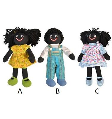 Rag doll Black Embroidered Cloth 35cm Toy Doll - Girl with Love Heart Dress (C)