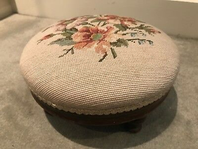 Antique Embroided Footstool